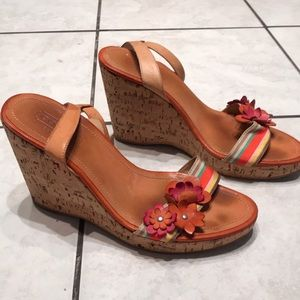 Coach. Wedges. Tan and color. Size 6.